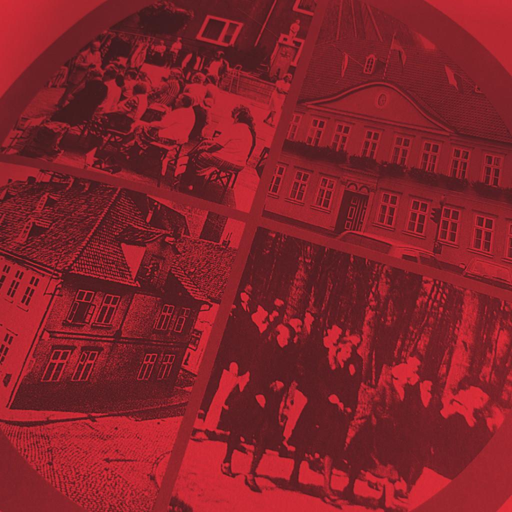 Auf dem Foto ist rot unterlegt ein Foto aus der Jubiläumsbroschüre des SPD.OV Uelzen zu sehen, auf dem Fotos von SPD-Veranstaltungen nach dem 2. WK zu sehen sind.